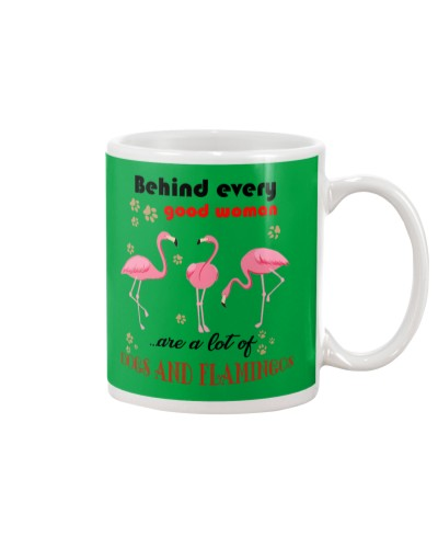 Flamingos and dogs woman