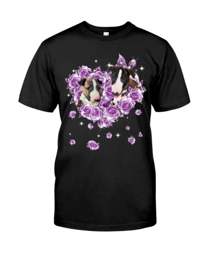 Bull Terrier mom purple rose shirt