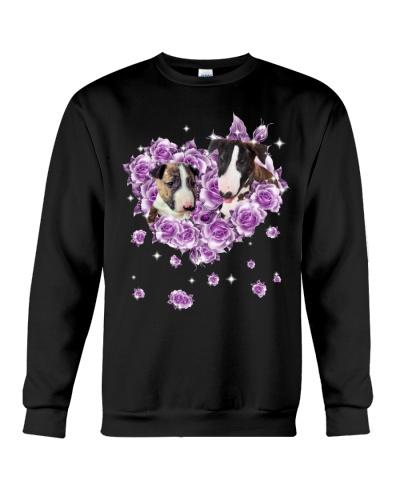 Bull Terrier mom purple rose shirt