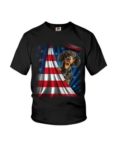 ll 10 dachshund open flag america shirt