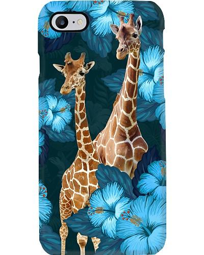 Giraffes blue hibiscus flowers phone case