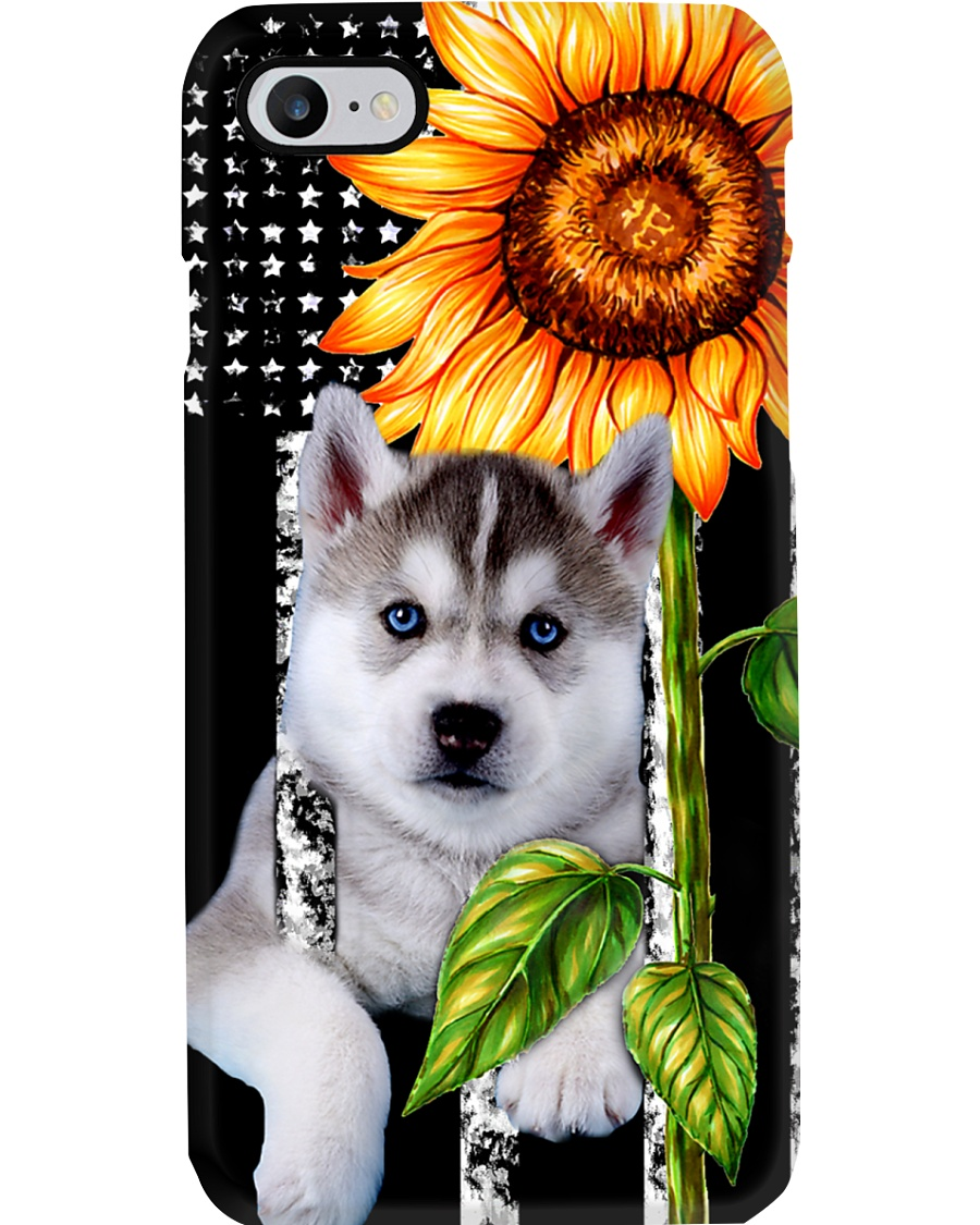Husky puppy flag and sunflower phone case  Phone Case