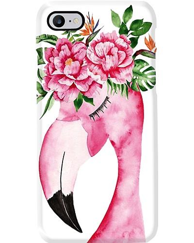Flamingo flower phone case