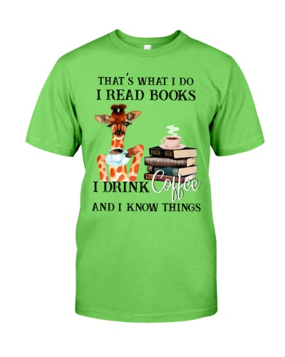 Giraffes with books and coffee shirt