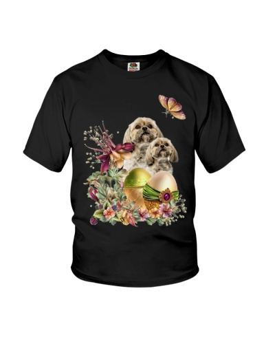 Ln shih tzu easter eggs and flowers