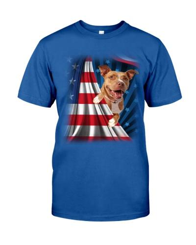 ll 10 pitbull open flag america shirt