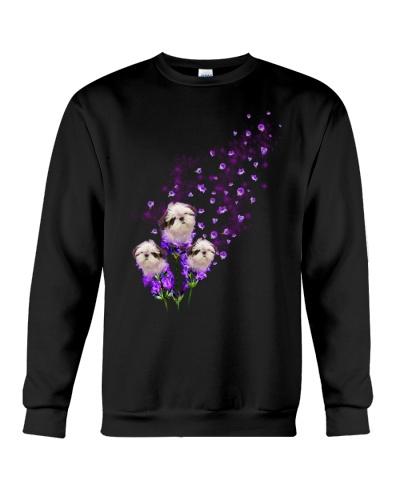 Shih tzu purple tiny flowers
