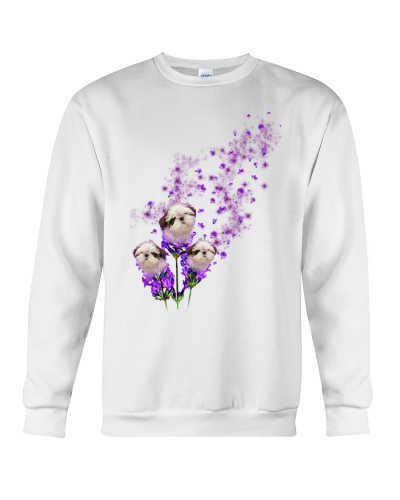 Shih tzu purple tiny flowers