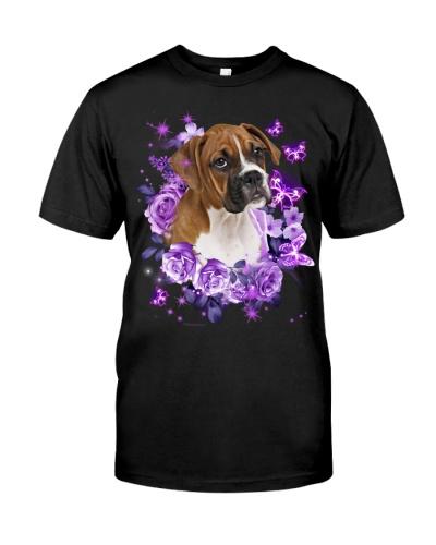 Boxer purple flowers