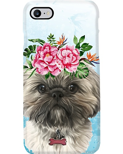 Shih tzu flower phone case