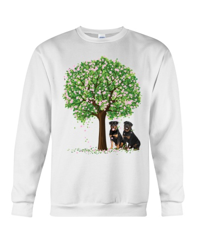 Rottweiler pink and green tree