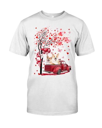 Red Car Love Tree Corgi Shirt
