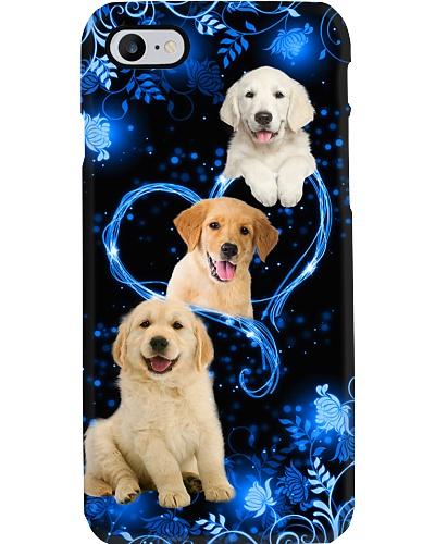 Twinkling blue heart Golden Retriever phone case