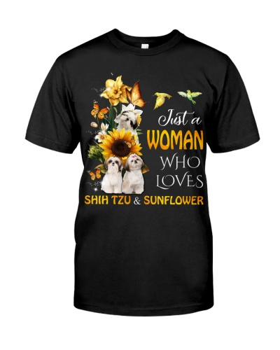 Woman who loves shih tzu and sunflower