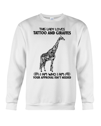 Giraffe and tattoo this lady loves