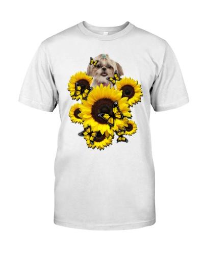 Ln shih tzu sunflowers and yellow butterflies