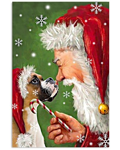 Boxer smile with santa christmas poster