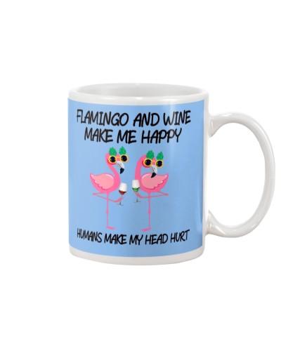 Flamingo and wine make me happy