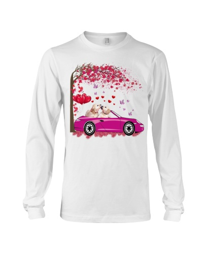 SHN Heart tree pink car Golden Retriever shirt