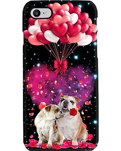 SHN Heart balloons Valentine Bulldog phone case