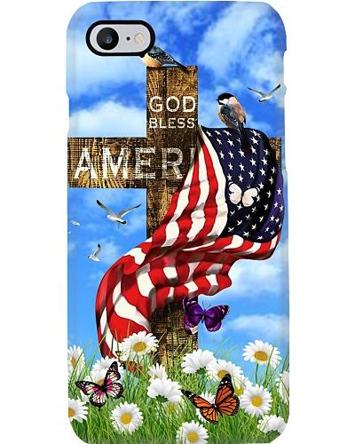 SHN God bless America flag on cross Bible