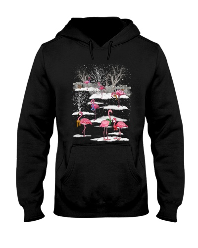 Flamingo in snow forest