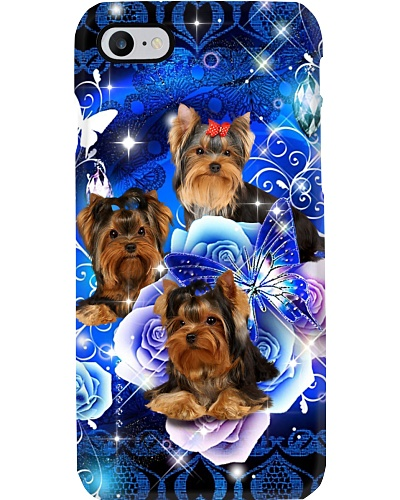 Yorkie Sparkling Rose Phone Case