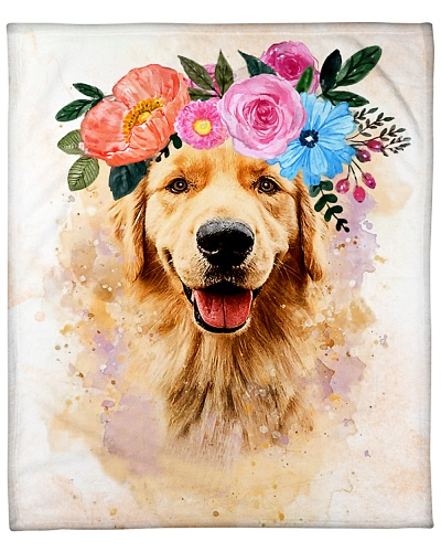 ll 3 golden retriever with flower spring