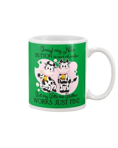 Cow my bite me button mug
