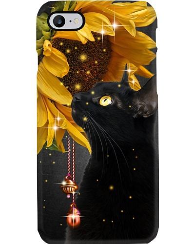 Black cat magic sunflower phone case