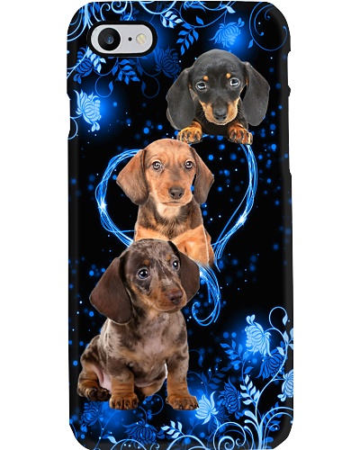 Twinkling blue heart Dachshund phone case