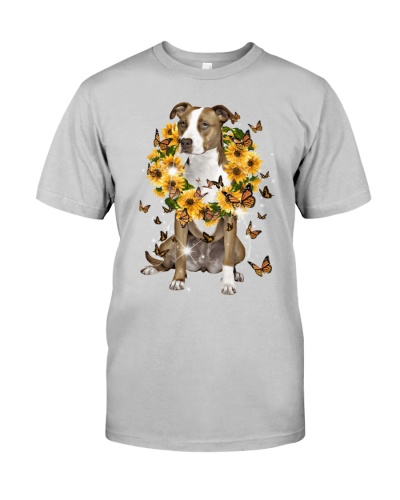 Pitbull sunflowers laurel wreath