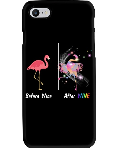 Flamingos before after wine