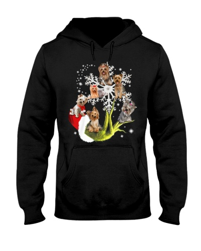 Qhn Christmas Keep Snow Yorkshire Terrier Hoodie