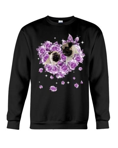 Pug mom purple rose shirt