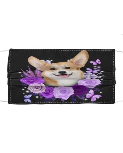 fn corgi purple roses face