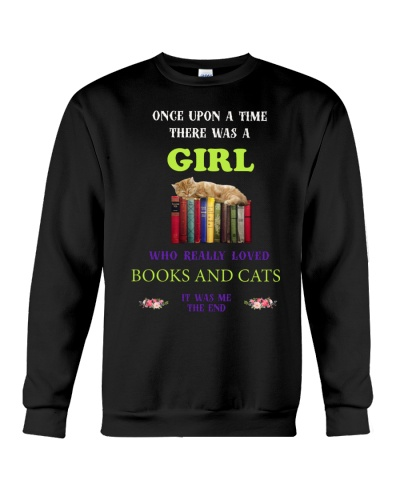 A girl who really love books and Cats shirt