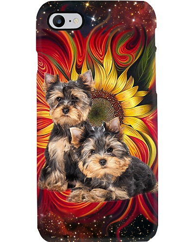 Sunflower Colorful Couple Yorkshire Phone Case