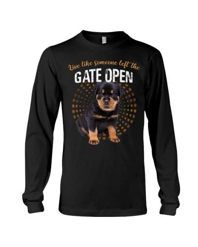 Rottweiler puppy left the gate open