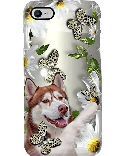 Fn 5 red siberian husky daisy and butterfly cus