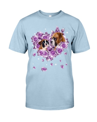 Boxer dog mom purple rose shirt
