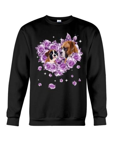 Boxer dog mom purple rose shirt