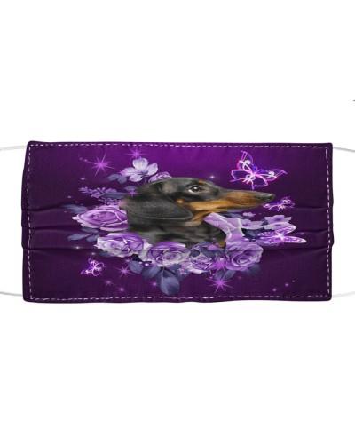 fn 5 dachshund purple flowers