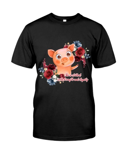 She is clothed with strength and dignity Pig
