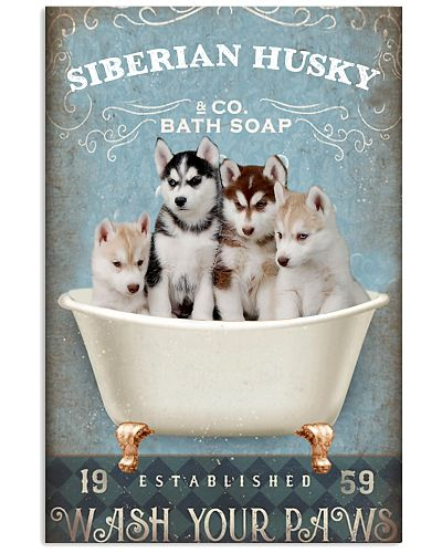 Siberian husky wash your paws poster