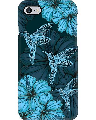 SHN 8 With blue hibiscus Hummingbird phone case