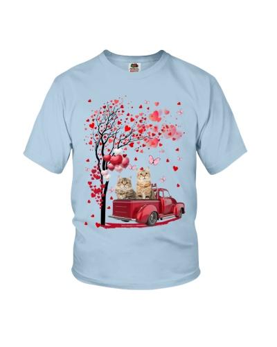 Red Car Love Tree Cat Shirt