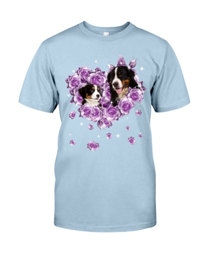 Bernese Mountain mom purple rose shirt