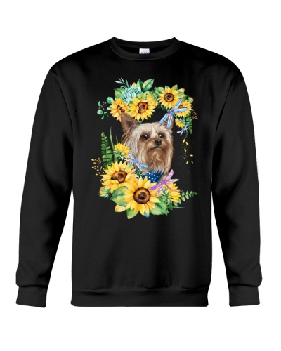 Ln yorkshire terrier a  deep face with sunflowers