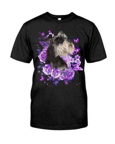 Schnauzer purple flowers